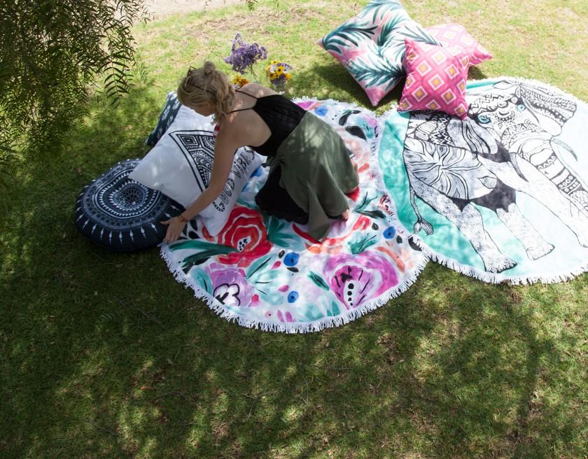 kess inhouse pillow vasare nar good vibes white home decor garden hippie cozy boho illustration feathers 2017